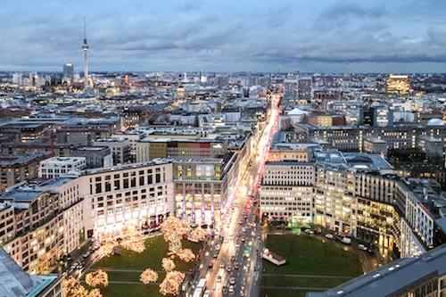 Panorama över hotell i Berlin