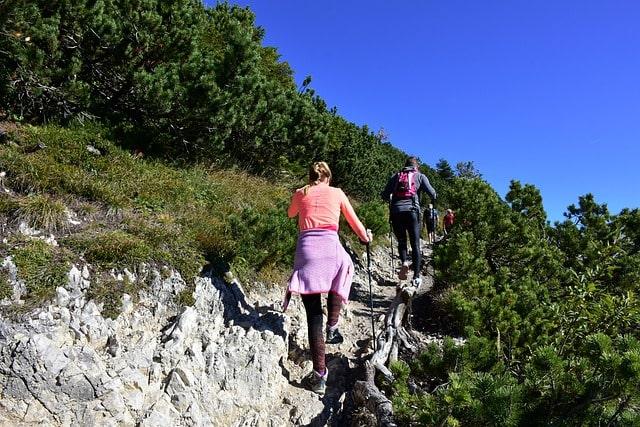 Vandring uppför berget Herzogstand i de Bayerska alperna